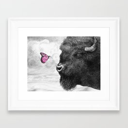 Bison and Butterfly Framed Art Print
