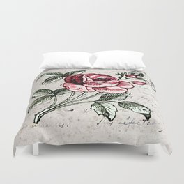 Shabby chic vintage rose and calligraphy Duvet Cover