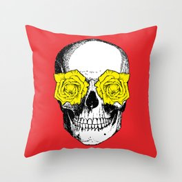 Skull and Roses | Skull and Flowers | Vintage Skull | Red and Yellow | Throw Pillow
