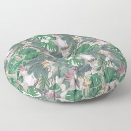 cockatoo birds and ginger, hibiscus flowers Floor Pillow
