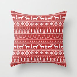 Deer christmas fair isle camping pattern snowflakes minimal winter seasonal holiday gifts Throw Pillow