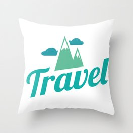 Traveling with mountains in the background Throw Pillow