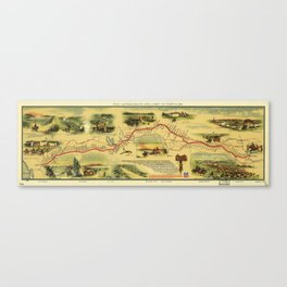 Map of the Pony Express Postal Service Route April 3, 1860 thru Oct 24, 1861 Canvas Print