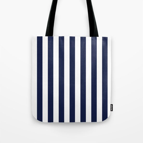 Maritime pattern- darkblue stripes on clear white- vertical Tote Bag