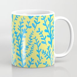 Yellow and Blue Floral Leaves Gouache Pattern Coffee Mug