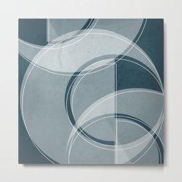 Where the Circles and Semi-Circles Meet in Aqua Metal Print