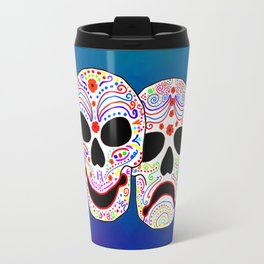 Comedy-Tragedy Colorful Sugar Skulls Travel Mug