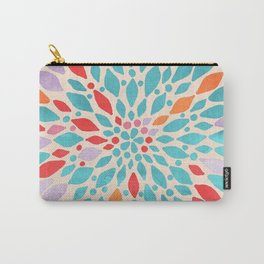 Radiant Dahlia - teal, orange, coral, pink watercolor pattern Carry-All Pouch