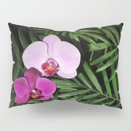 Orchids with palm leaves Pillow Sham