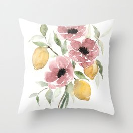 Watercolor-poppies-and-lemons Throw Pillow