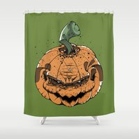 pumpkin Shower Curtains featuring Pumpkin by Kape