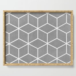 Light Grey and White - Geometric Textured Cube Design Serving Tray
