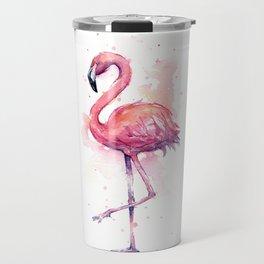 Pink Flamingo Watercolor Tropical Bird Travel Mug