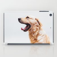 golden retriever iPad Cases featuring Golden Retriever Dog Yawning by Limitless Design