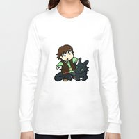 hiccup Long Sleeve T-shirts featuring Chibi Hiccup and Toothless by Gio Garcia