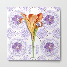 Gothic Revival Daylily Lace Metal Print