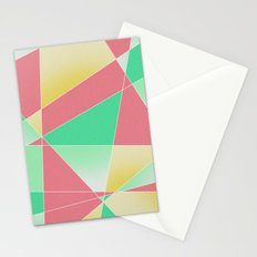 Geometric Fractal Strawberry Mint Ice Cream Stationery Cards