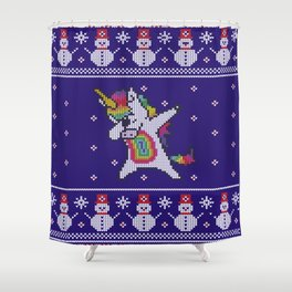 Unicorn celebrating for Christmas Shower Curtain