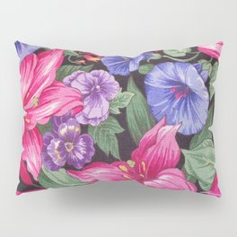 Large Pink and Purple Flowers with Green Leaves Pillow Sham