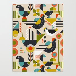 Bauhaus style birds Poster