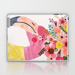 Pink flamingo with flowers on head Laptop & iPad Skin