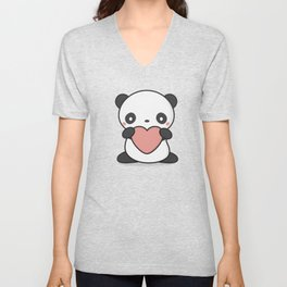 Kawaii Cute Panda With Heart Unisex V-Neck
