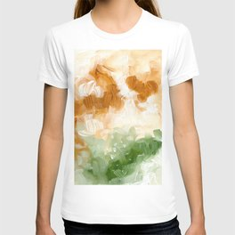 Ejaaz Haniff Abstract Acrylic Palette Knife Painting Olive Green Yellow Ochre: 'Sunny Valley Clouds' T-shirt