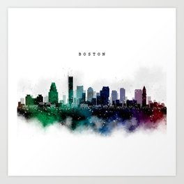 Boston Watercolor Skyline Art Print