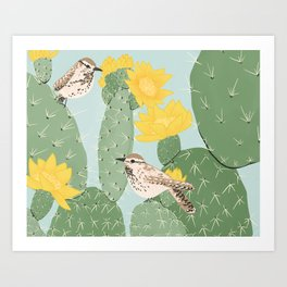 Prickly Pear with Wrens  Art Print