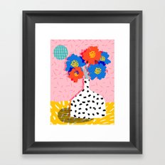 In There - throwback retro still life flower vase abstract minimal dots painting flower florals Framed Art Print