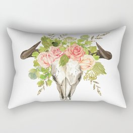 Bohemian bull skull and antlers with flowers Rectangular Pillow