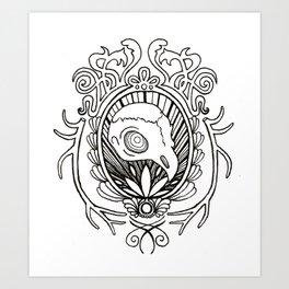 burd skull Art Print