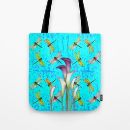 PURPLE CALLA LILIES IN  DRAGONFLY WORLD  ART Tote Bag