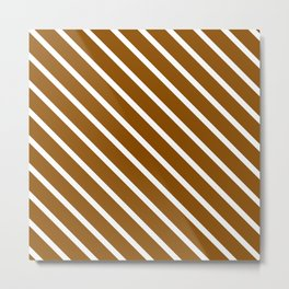 Pumpkin Pie Diagonal Stripes Metal Print