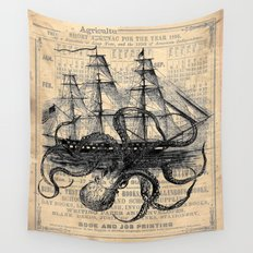 Octopus Kraken attacking Ship Antique Almanac Paper Wall Tapestry