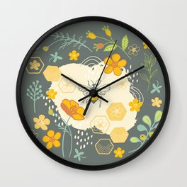 Little Bee and Buttercups Wall Clock
