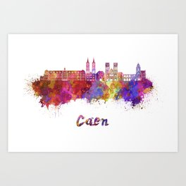 Caen skyline in watercolor  Art Print