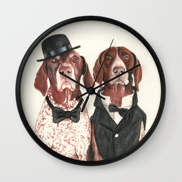 german short hair pointers - F.I.P. @ifitwags (The pointer brothers) Wall Clock