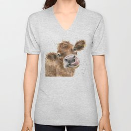 Face baby cattle Unisex V-Neck