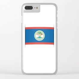 Flag of Belize. The slit in the paper with shadows. Clear iPhone Case