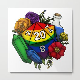 Pride Rainbow D20 Tabletop RPG Gaming Dice Metal Print