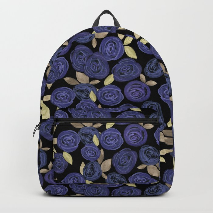 Blue watercolor roses on a black background . Backpack