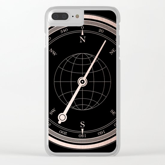 Rose Gold Compass on Black Clear iPhone Case