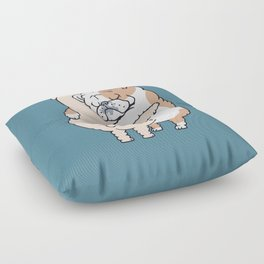 English Bulldog Hugs Floor Pillow