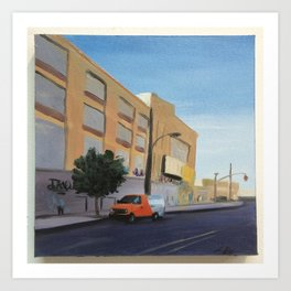 Tree and Orange Van on Flushing, print of original oil painting Art Print