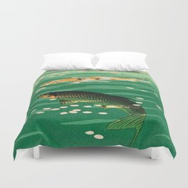 Vintage Japanese Woodblock Print Asian Art Koi Pond Fish Turquoise Green Water Cherry Blossom Duvet Cover