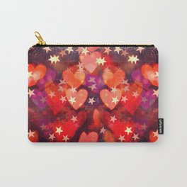 Hearts and stars Valentine bokeh lights sparkle - love heart red glam Carry-All Pouch