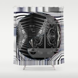 Dark Yin Yang  (Stained Glass, Abstract, Line Art) Framed 03 Shower Curtain