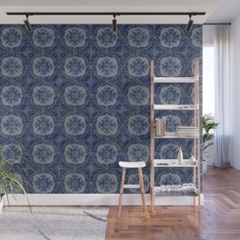 Vintage blue ceramic tiles pattern Wall Mural