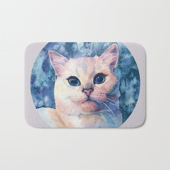 """White cat"" Bath Mat"